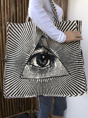 Handmade Borsa larga bianco sporco-nero Cotone