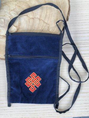 Handmade Bolso de tela azul oscuro Terciopelo