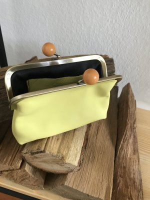 Borse in Pelle Italy Clutch lime yellow leather