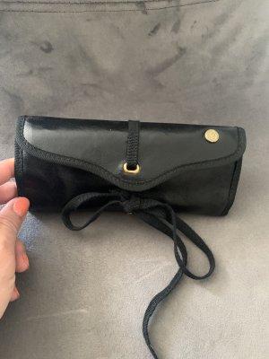 Tasche Clutch Beauty Schmuck Case Mäppchen Leder Imitat schwarz