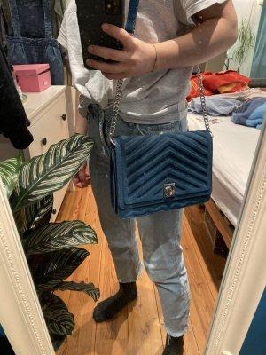 Zara Shoulder Bag petrol-silver-colored
