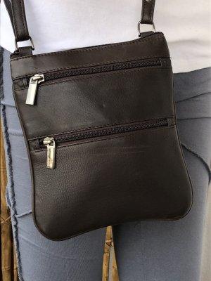 Tasche echt Leder Nappa 2.Wahl 20x18cm dunkelbraun 5 Reißverschluß Fächer Tragegurt lang verstellbar