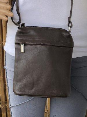 Tasche echt Leder Nappa dunkelbraun 21x18cm 4 Reißverschluß Fächer Tragegurt lang verstellbar