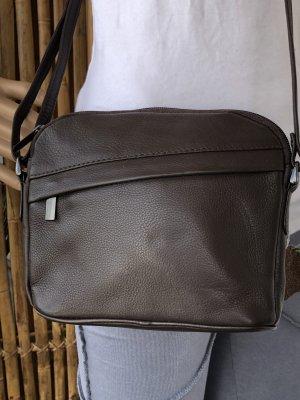 Tasche echt Leder Nappa dunkelbraun 22x18cm 3 Reißverschluß Fächer Tragegurt lang verstellbar