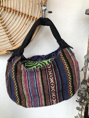 Tasche Ethno Baumwolle Beutel 36x18cm handgewebt gestreift bunt
