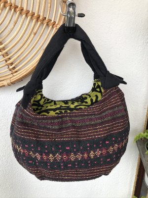 Tasche Ethno handgewebt Baumwolle 36x18 cm schwarz dunkelrot