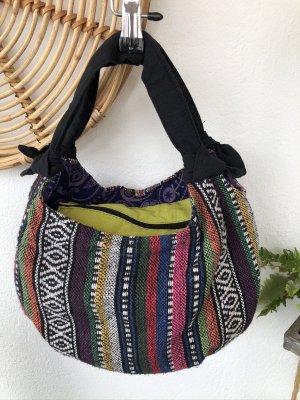 Tasche Ethno handgewebte Baumwolle 36x18 cm schwarz weiß bunt