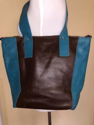 Vom Kunstmarkt Shopper brun foncé-turquoise