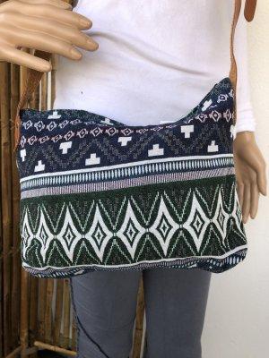 Tasche gewebte Baumwolle 27x20cm blau grün Ethno Boho Tragegurt echt Leder verstellbar