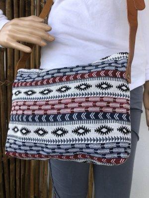 Tasche gewebte Baumwolle 27x20cm blau rot schwarz Boho Ethno Tragegurt echt Leder verstellbar