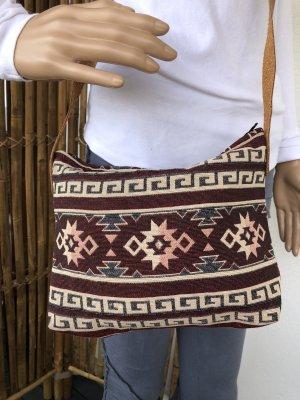 Tasche gewebte Baumwolle 27x20cm bordeauxrot creme Ethno Boho Tragegurt echt Leder verstellbar