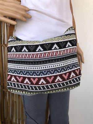 Tasche gewebte Baumwolle 27x20cm schwarz rot grün Ethno Boho Tragegurt echt Leder