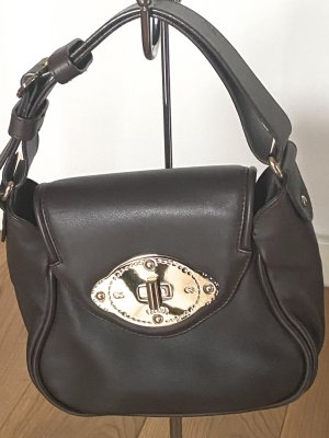 Escada Carry Bag black brown-gold-colored leather