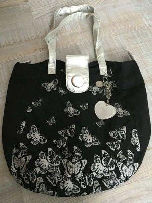 Tasche Handtasche Shopper schwarz silber metallic Schmetterlinge