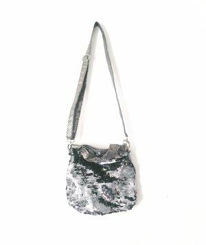 tasche • handtasche • umhängetasche • vintage • sequin • silber • bohostyle • pailletten
