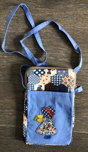 Handmade Pokrowiec na telefon komórkowy chabrowy-błękitny Bawełna
