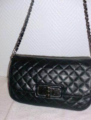 Tasche Henkeltasche Kettenhenkel Shopper Bag Handtasche schwarz gesteppt Steppung Leder Imitat