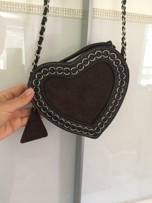 Tasche Herz Trachtentasche in braun echtes Leder von L.Credi