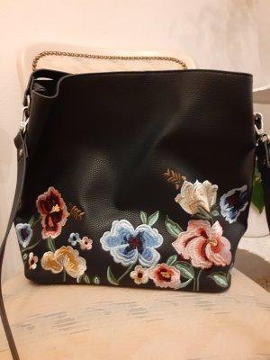 Tasche in Dunkelblau zum Umhängen mit aufgestickten Blumen - Orsay