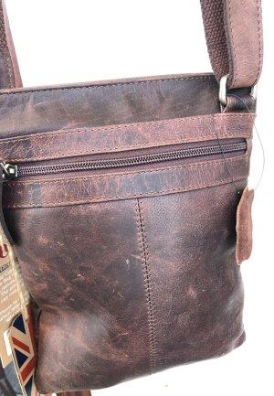 Tasche Leder Chesterfield braun vintage Look 22x27cm