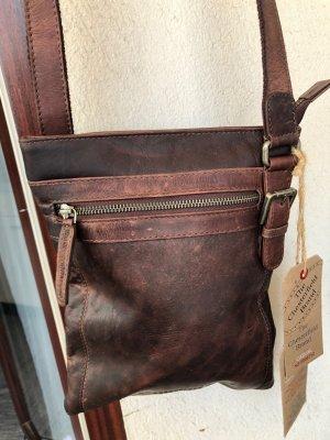 Tasche Leder dunkelbraun gewachst Vintage Look 22x27 cm