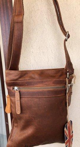 Tasche Leder gewachst Vintage Look cognacbraun Chesterfield 22x27 cm