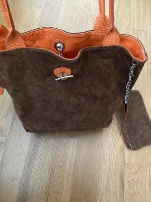Tasche Leder orange braun shopper
