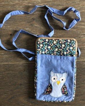 Handmade Pokrowiec na telefon komórkowy błękitny-chabrowy Bawełna