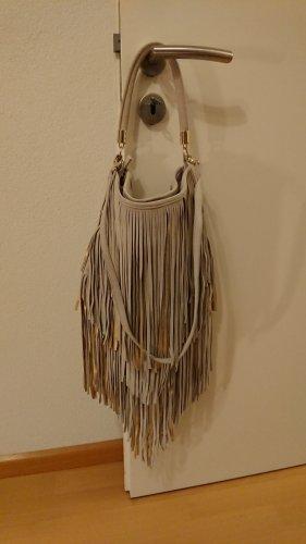 H&M Fringed Bag gold-colored-light grey leather