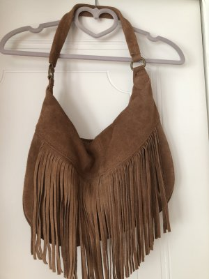 Made in Italy Fringed Bag cognac-coloured leather
