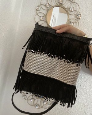 Fringed Bag black-silver-colored