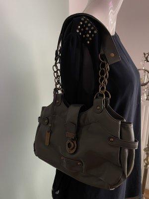 Tasche mit Ketten von Candies Kunstleder Khaki-Bronze