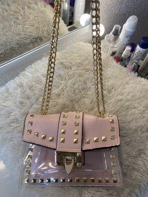 Tasche rosa mit Nieten Gold transparent