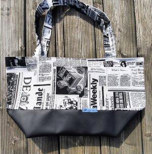 handmade unikat Bolso de tela blanco-negro