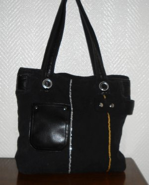 Tasche Shopper Bag Henkeltasche h m schwarz gold silber Pailetten Leder Imitat
