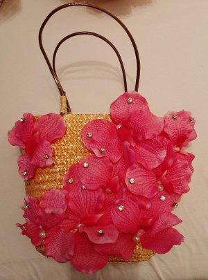 Tasche Shopper Handtasche Strandtasche Stroh Orchideen Blumen Perlen Strass
