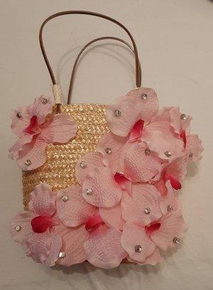 Tasche Shopper Handtasche Strandtasche Stroh Orchideen Blumen Strass