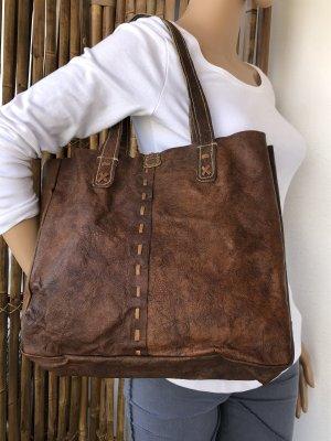 Tasche Shopper Yak Leder gewachst cognacfarben Vintage Look 34x29,5x9cm Tragegurte Yak Leder
