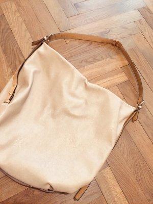 Tasche Shopping Bag beige nude Zara Vintage Schultertasche