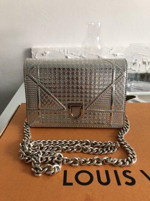 Tasche Silber Bandouliere Abend Pochette Clutch Bag Grau