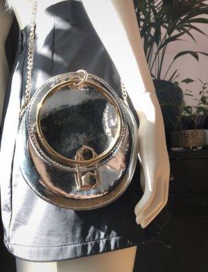 Minibolso color plata-color oro tejido mezclado