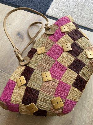 Tasche Stroh Cabas Pink Braun Beige mit Lederriemen und Innenbeutel