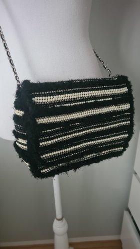 Tasche Umhängetasche Silber Grau Schwarz Perlen Zara Boucle