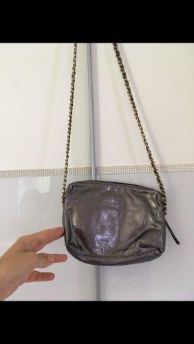 Tasche Umhängetasche von Abro echtes Leder in altgold Silber metallic