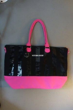 Tasche Victoria's Secret, pink, schwarz, Glitzer, Pailletten, Strandtasche, Shopper, Weekender