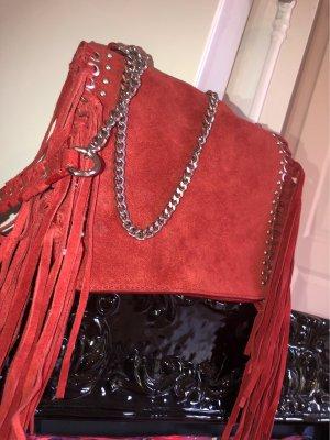 Zara Sac à franges rouge