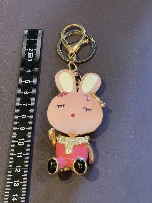 Taschen-/ Schlüsselanhänger Hase pink-gold