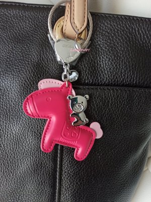 Key Chain silver-colored-magenta leather