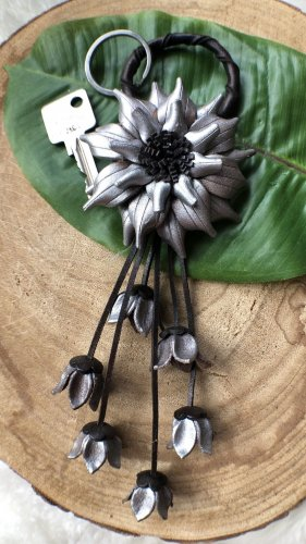 Handmade Key Chain silver-colored-black brown leather