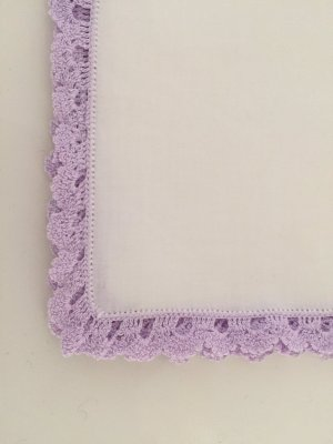 Pocket Square white-purple cotton